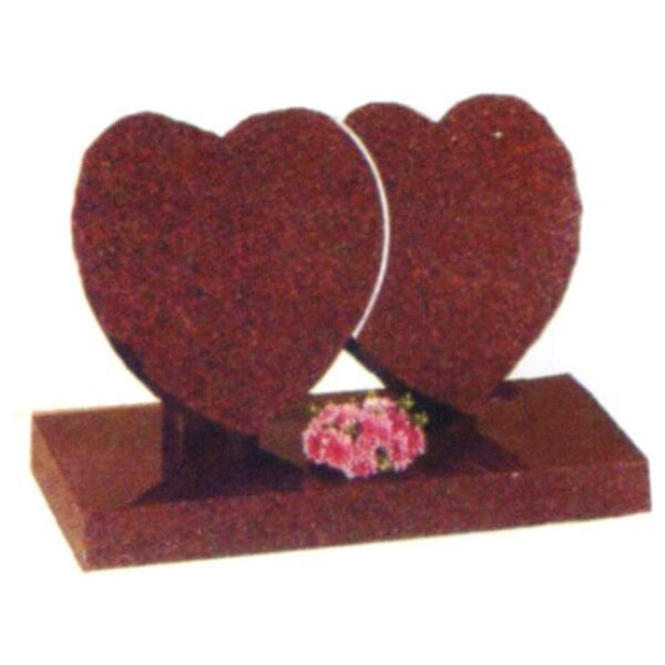 two red hearts headstone