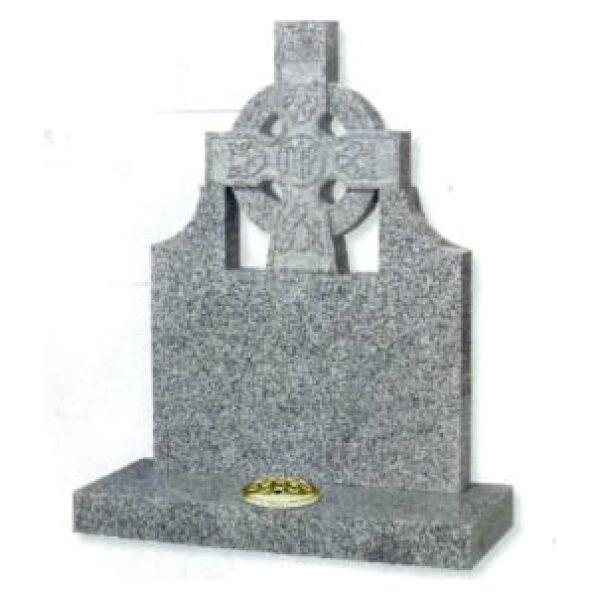 grey headstone with cross