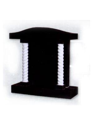 black headstone with pillars